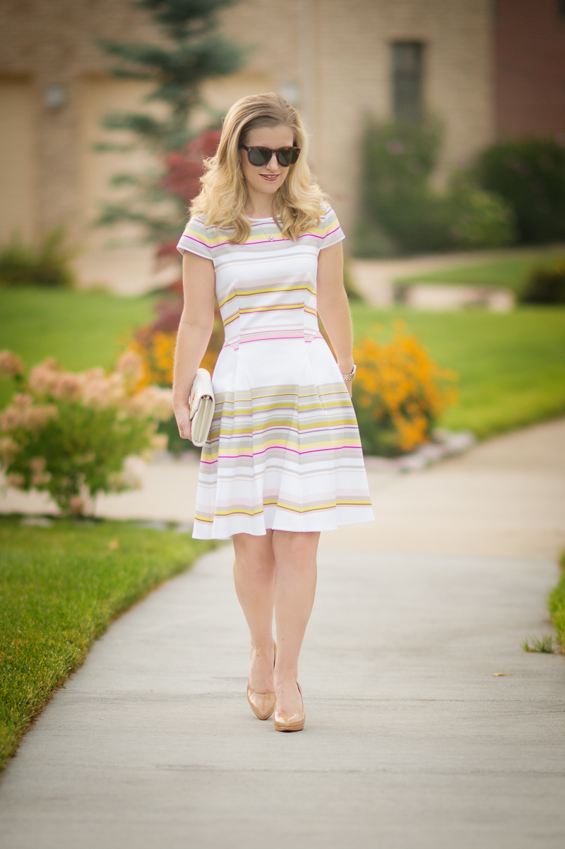 4c9df9afd5f0 Outfit Details  Ted Baker Aquai Carousel Stripe Skater Dress (Olive) (also  love this one)