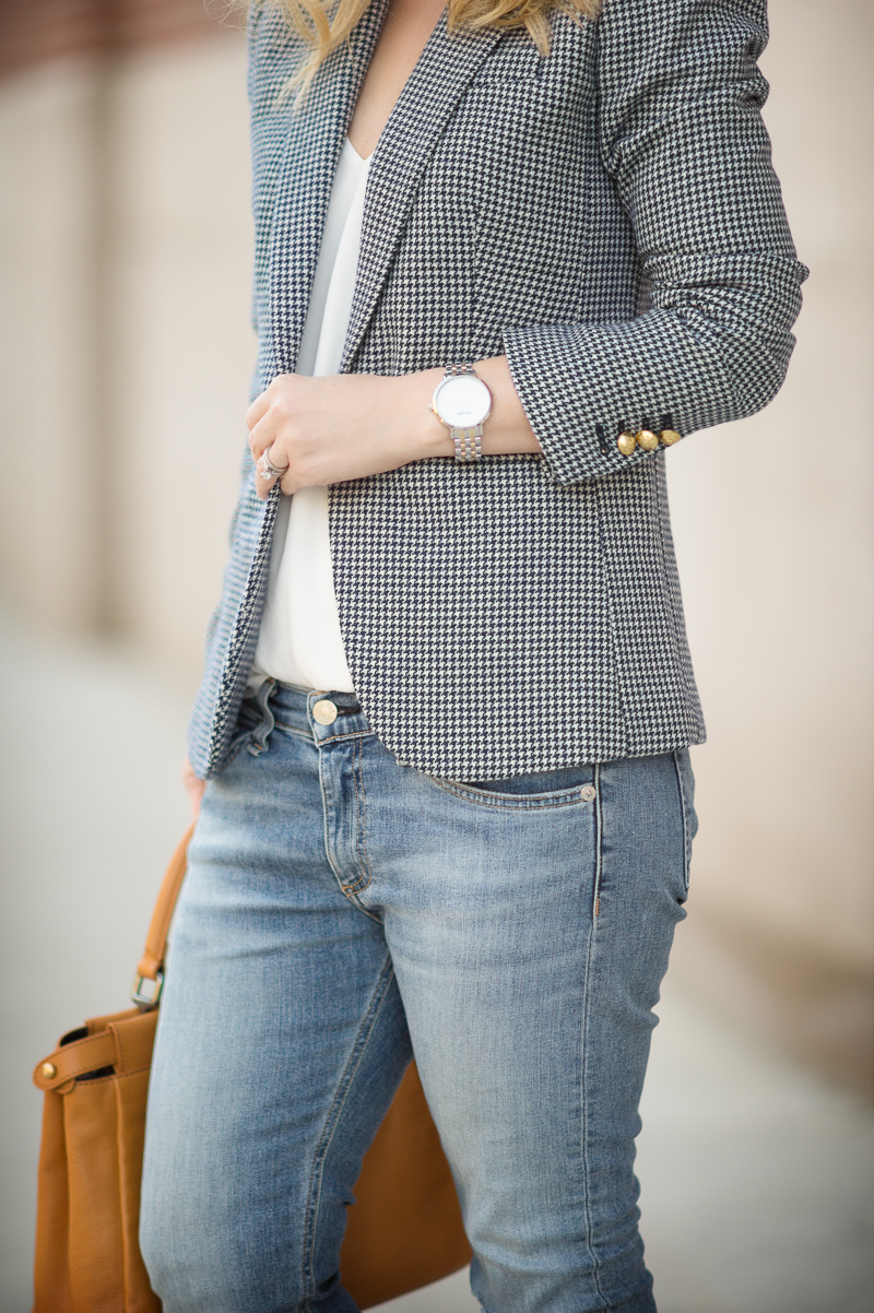 Petite Fashion and Style | J. Crew Campbell Blazer in Houndstooth | Click to read more...