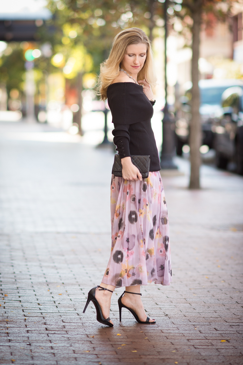 Petite Fashion and Style | ASOS Pleated Midi Skirt in Floral Print | WHBM Ribbed Off the Shoulder Sweater | Click to read more...