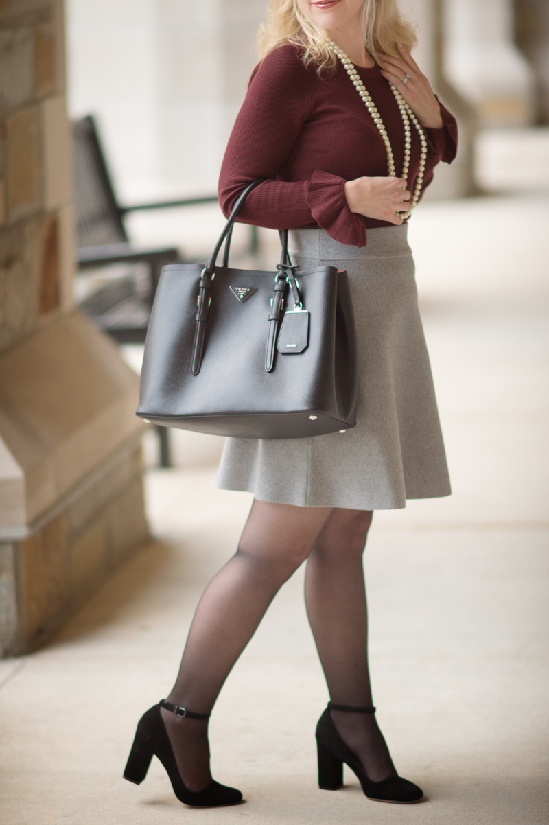 Petite Fashion and Style | Ann Taylor Extra Fine Merino Wool Ruffle Cuff Sweater | Ann Taylor Solid Sweater Skirt | Click to Read More