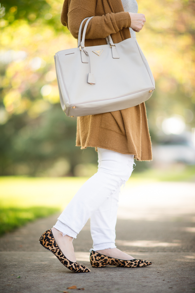 Petite Fashion and Style | BP Camel Cardigan | Ivanka Trump Lepoard Flats | Click to Read More...