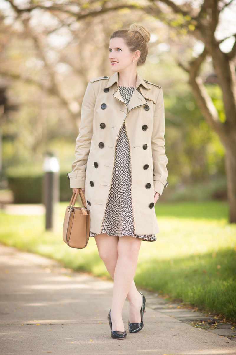 Petite Fashion and Style   Loft Tile Jacquard Flounce Dress   Burberry Trench   Click to Read More...