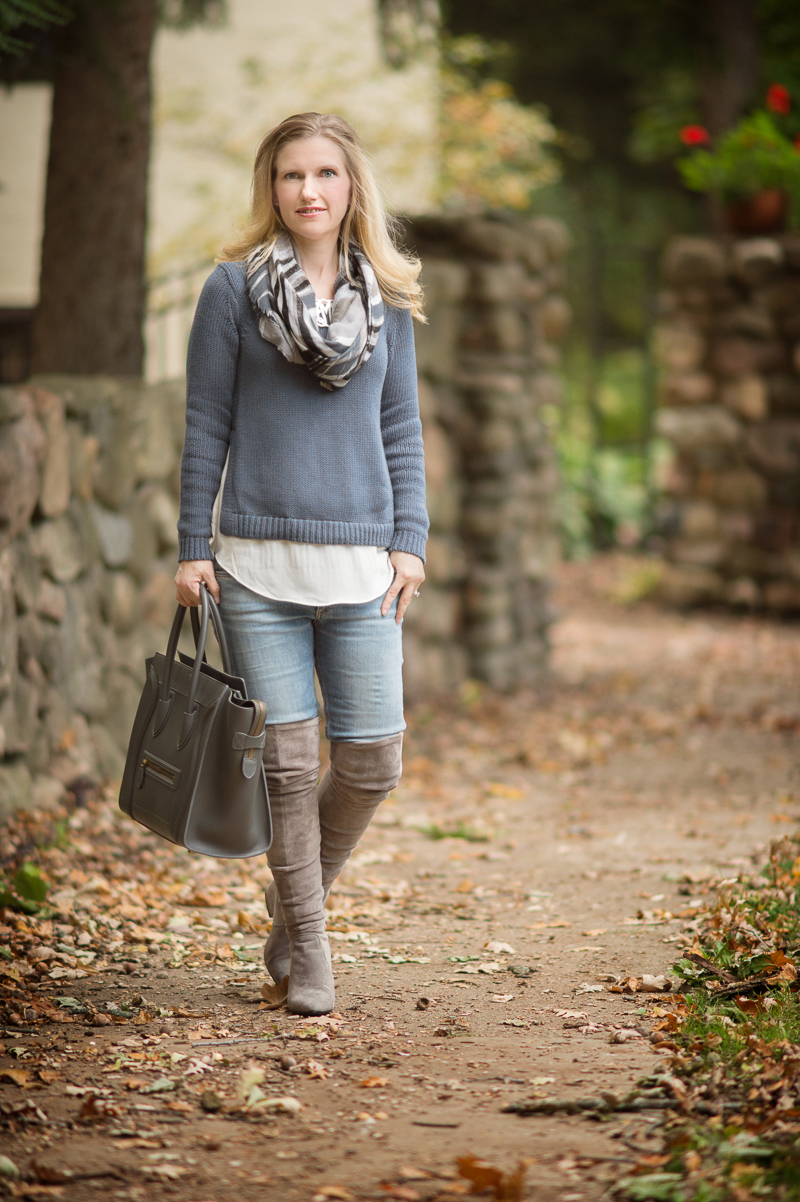 Petite Fashion and Style | Loft Chunky Two in One Sweater | Suede OTK Boots | Click to Read More...