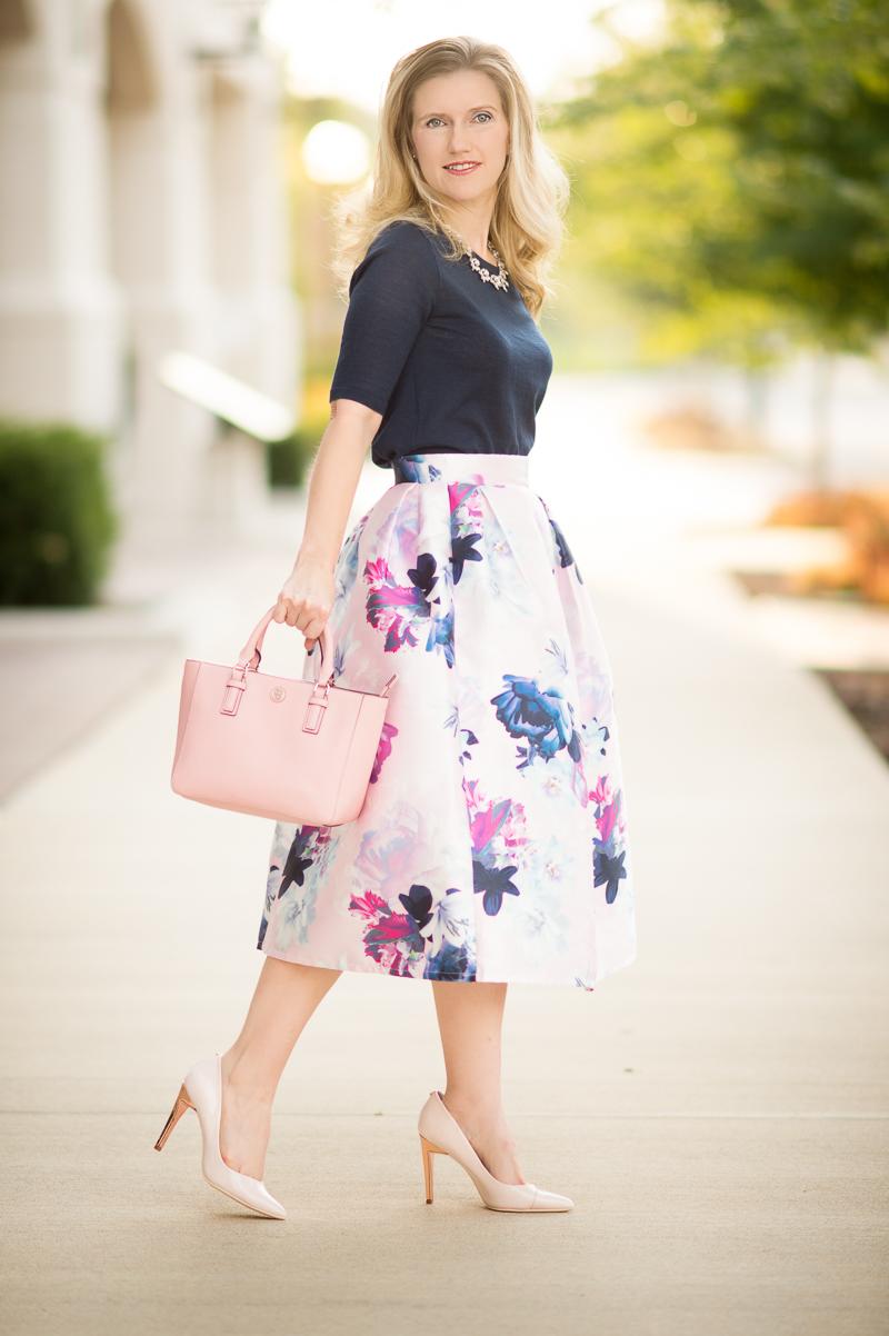 A Skirt For All Seasons Shein Floral Pleated Midi Skirt The Blue Hydrangeas A Petite