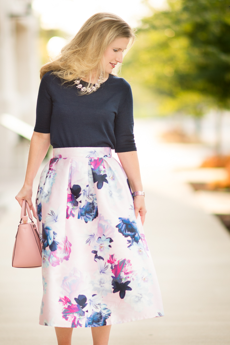 316159d2e9 Petite Fashion and Style | SheIn Flower Pleated Midi Dress | Click to Read  More.