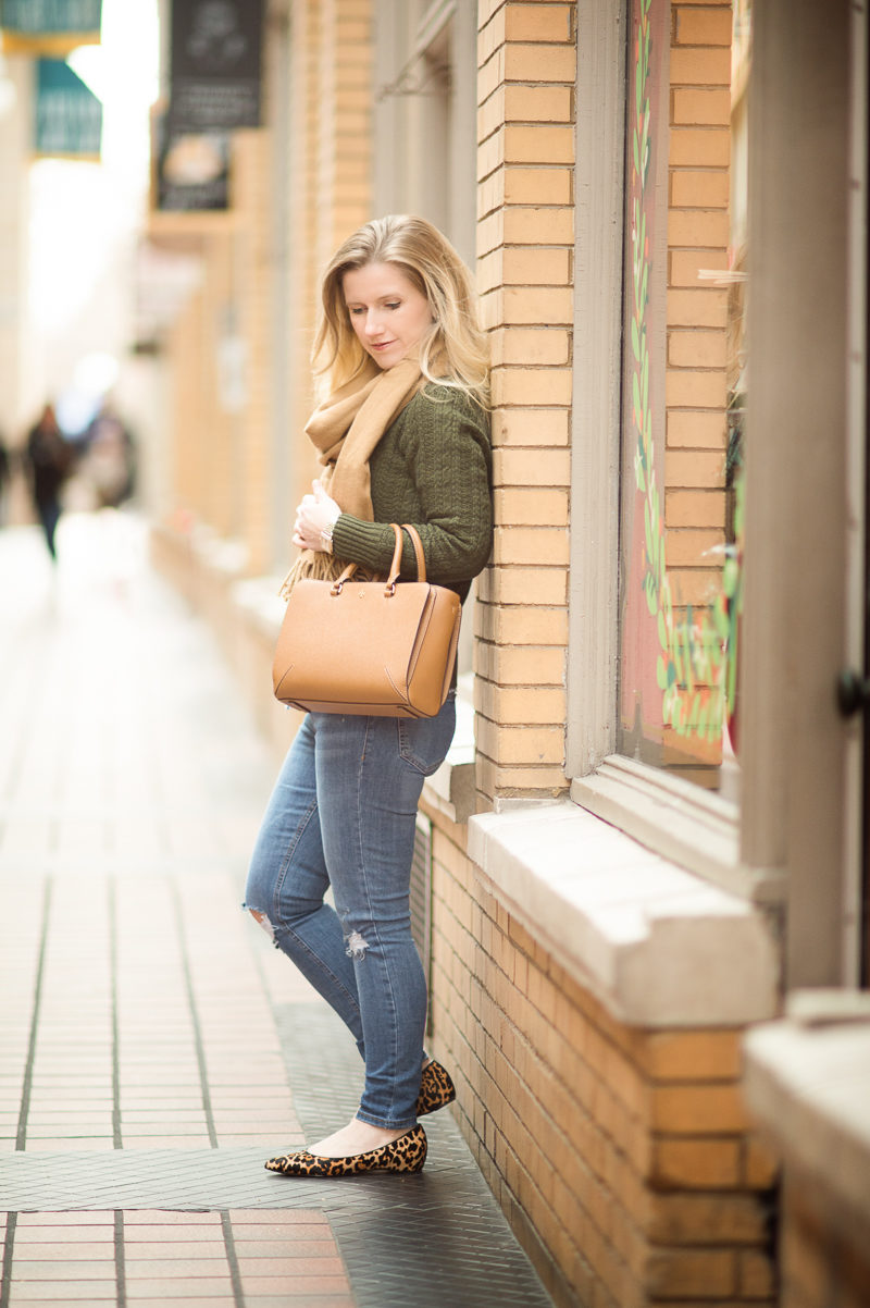 Petite Fashion and Style | J. Crew Factory Cable Knit Sweater | Tory Burch Robinson Small Tote | Click to Read More...