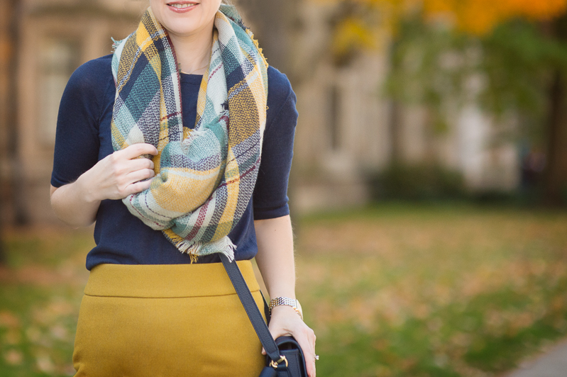 Petite Fashion and Style | J. Crew Pencil Skirt | Modcloth Plaid Scarf | Click to Read More...