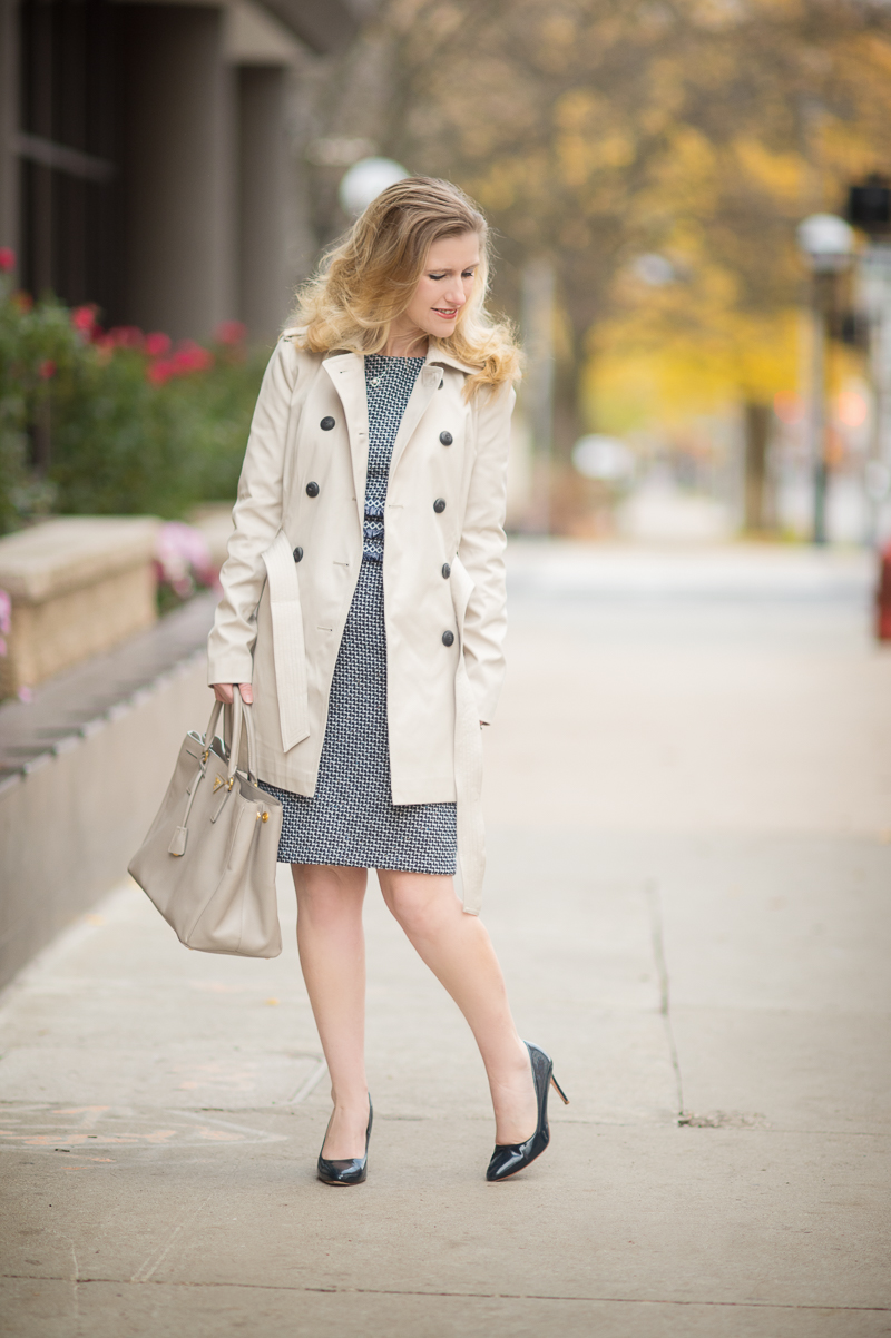 Petite Fashion and Style | Shein Navy Tweed Sheath Dress | Express Classic Trench | Click to Read More...