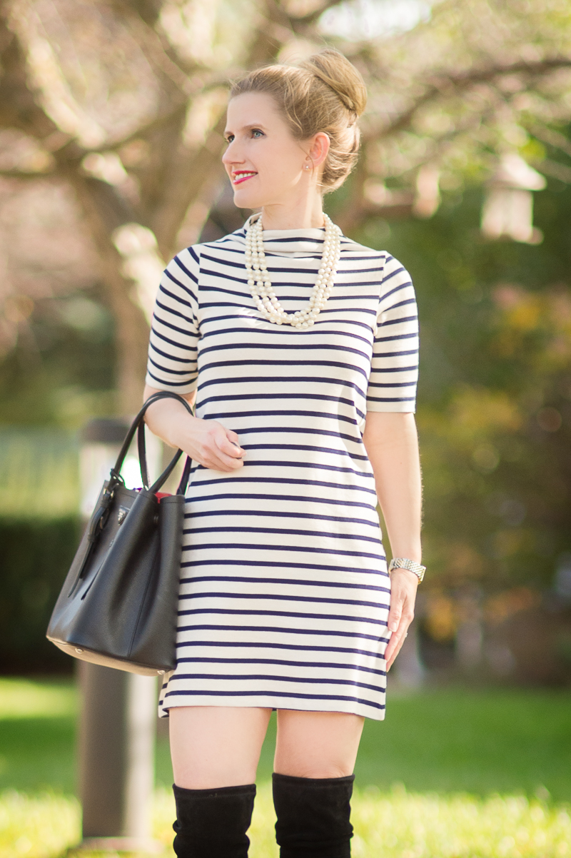 Petite Style Blog | French Connection Stripe Terry Shift Dress | Stuart Weitzman Highland Boots | Click to Read More...