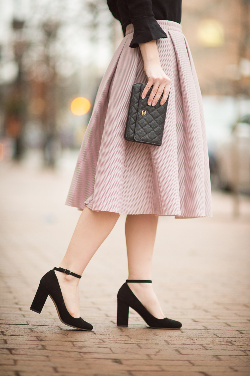 Petite Style Blog | Romwe Champagne High Waist Pleated Flare Skirt | Ann Taylor Ruffle Cuff Sweater | Click to Read More...