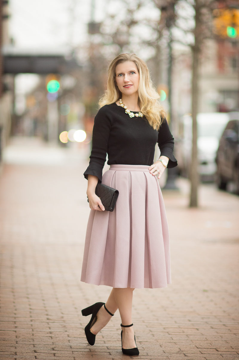 Petite Style Blog   Romwe Champagne High Waist Pleated Flare Skirt   Ann Taylor Ruffle Cuff Sweater   Click to Read More...