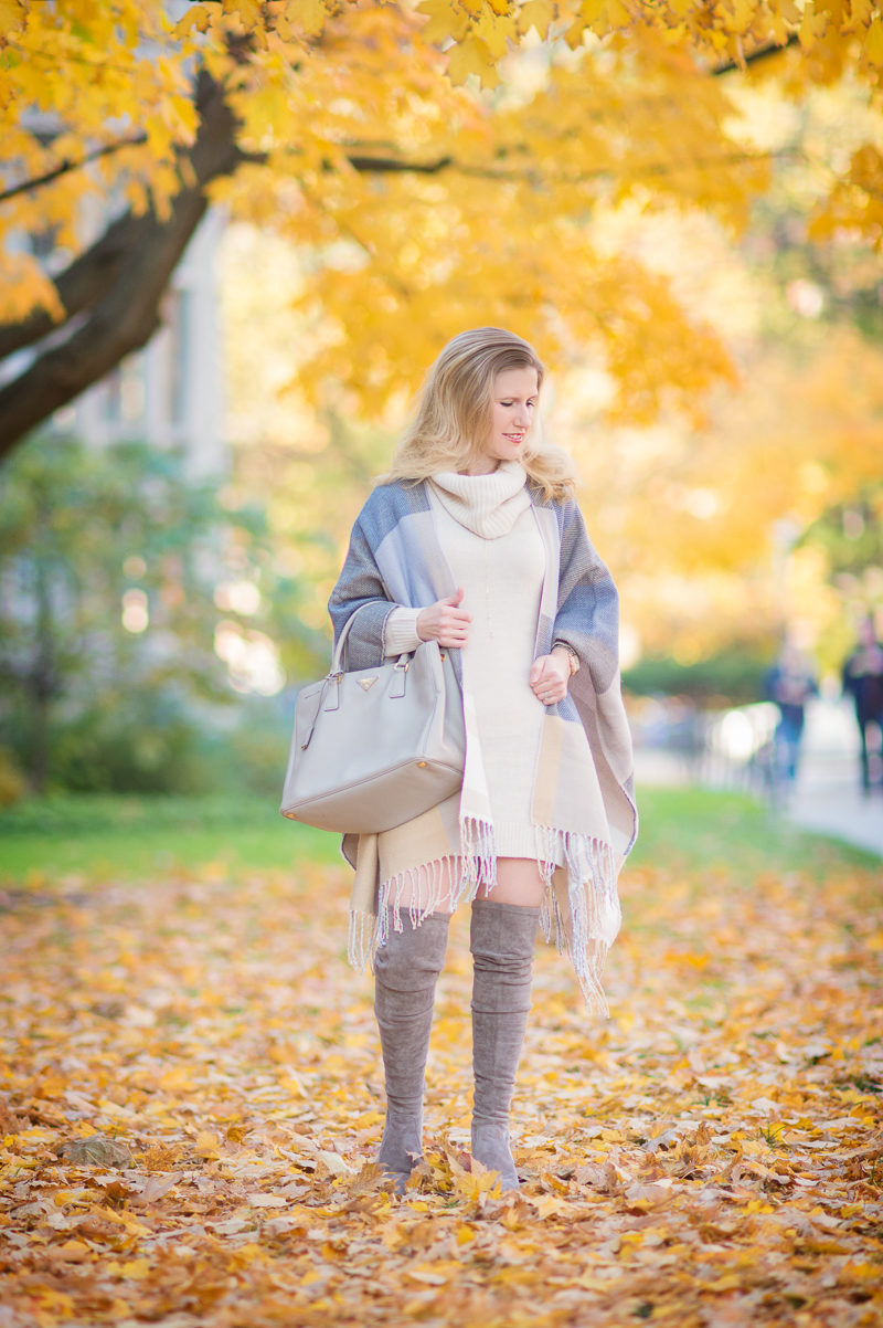 Petite Style Blog   Ann Taylor Plaid Poncho   H&M Cowl-Neck Sweater   Click to Read More....