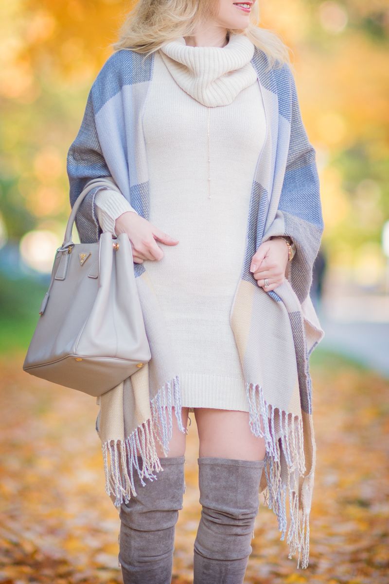 Petite Style Blog | Ann Taylor Reversible Cape | H&M Cowl-Neck Sweater | Click to Read More....