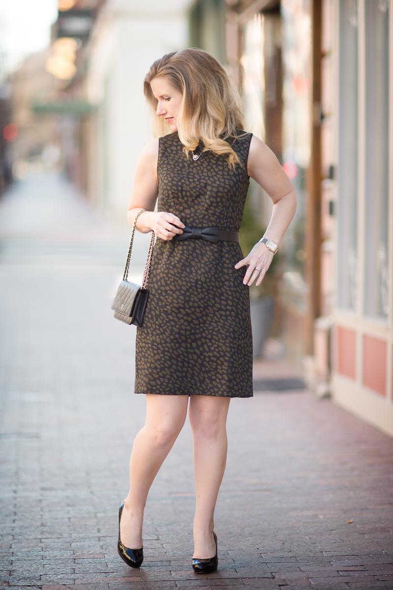 etite Fashion and Style Blog | Ann Taylor Spotted Jacquard Sheath Dress