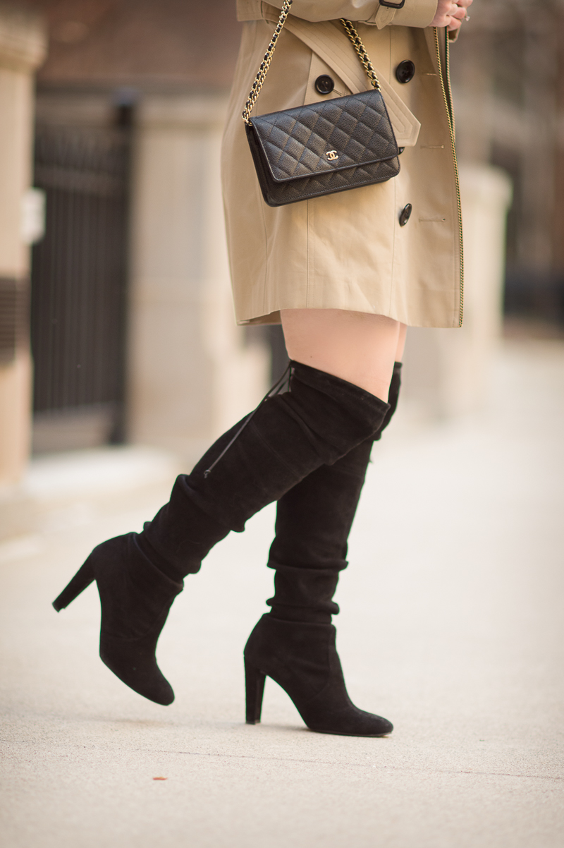 Petite Fashion and Style Blog | Burberry Sandringham Trench | Chanel Wallet on Chain | Stuart Weitzman Highland Boots | Click to Read More...