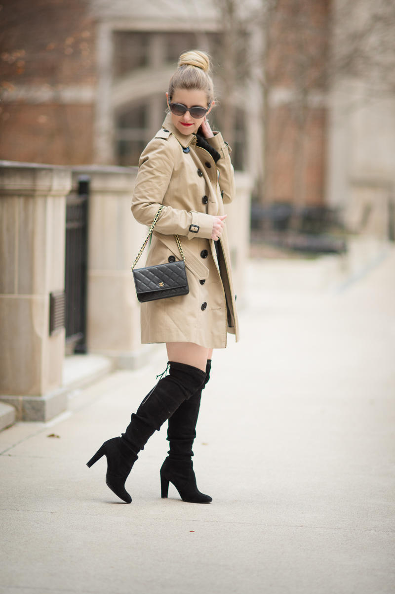 Petite Fashion and Style Blog | Burberry Sandringham Trench | Chanel Wallet on Chain | Stuart Weitzman Highland Boots | Click to Read More... - Burberry Trench Coat styled by popular Michigan petite fashion blogger The Blue Hydrangeas