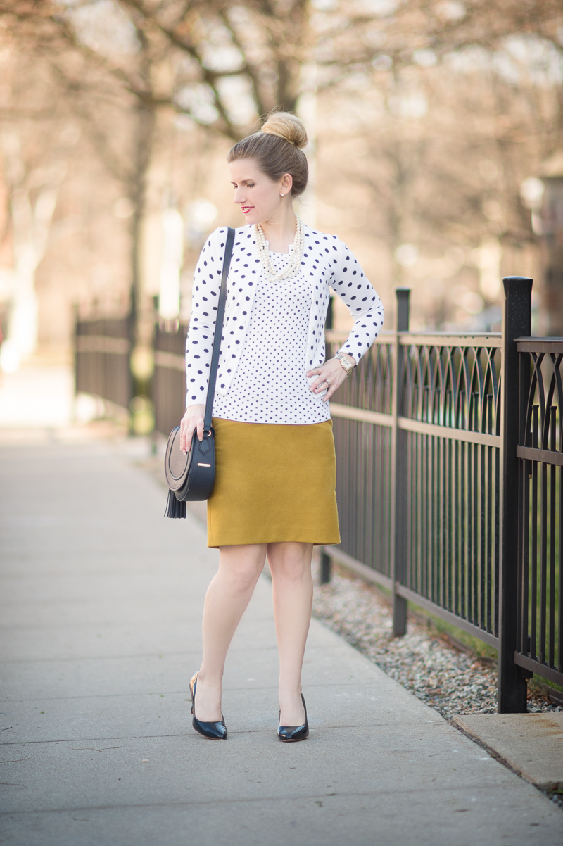 Petite Fashion and Style Blog | J. Crew Cotton Jackie Cardigan Sweater in Dot | Gigi New York Jenni Saddle Bag in Navy | Click to Read More...