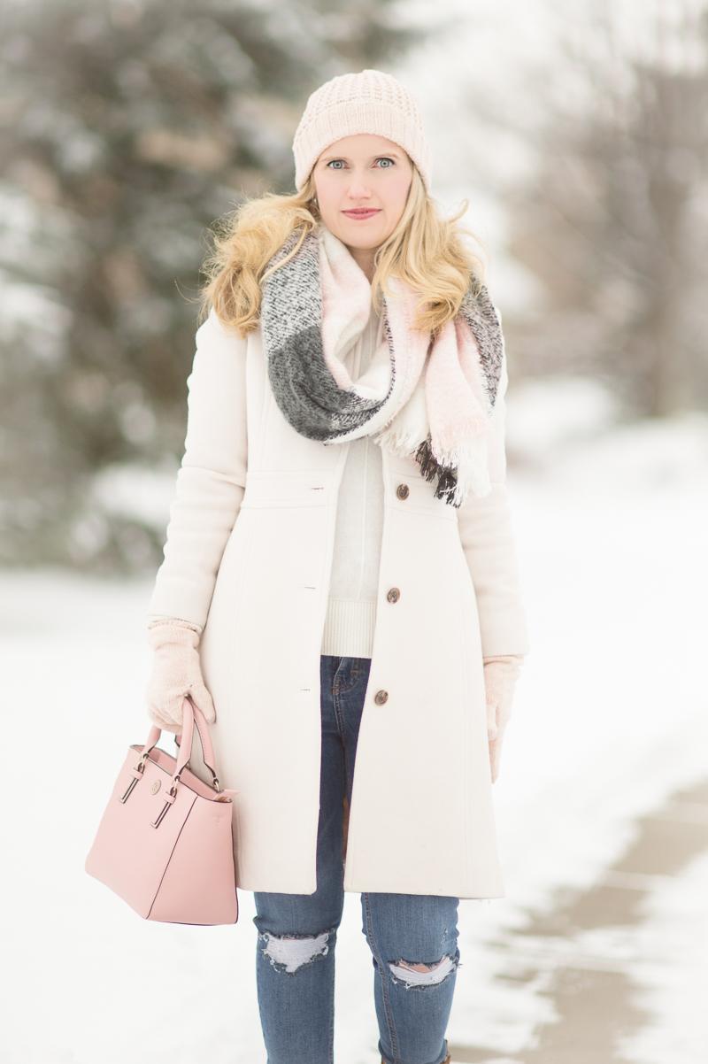 Petite Fashion And Style Blog J Crew Lady Day Coat Loft Plaid Scarf Loft Shimmer Beanie 5