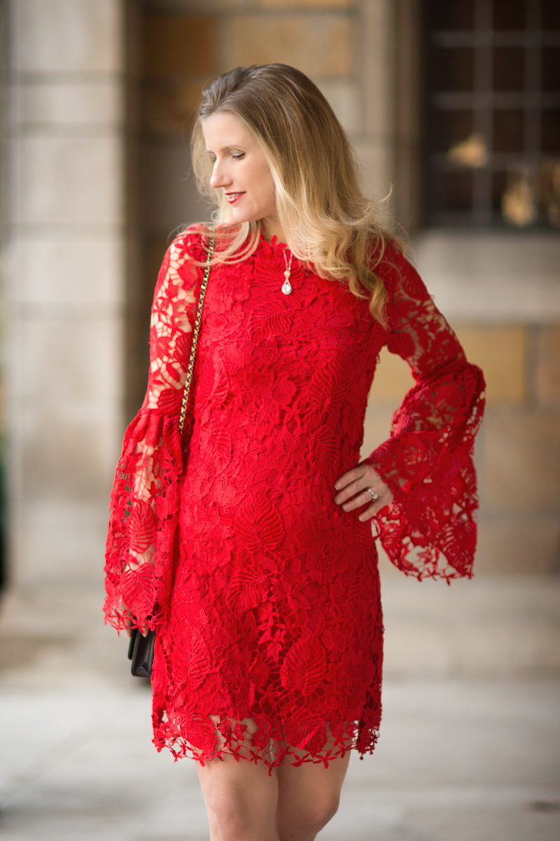 Petite Fashion and Style Blog | Red Embroidered Lace Overlay Bell Sleeve Dress