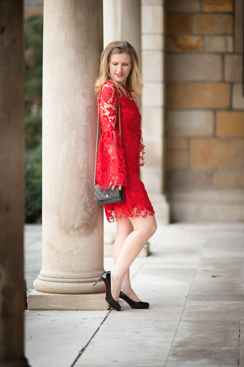 Petite Fashion And Style Blog Red Embroidered Lace Overlay Bell Sleeve Dress 8 The Blue