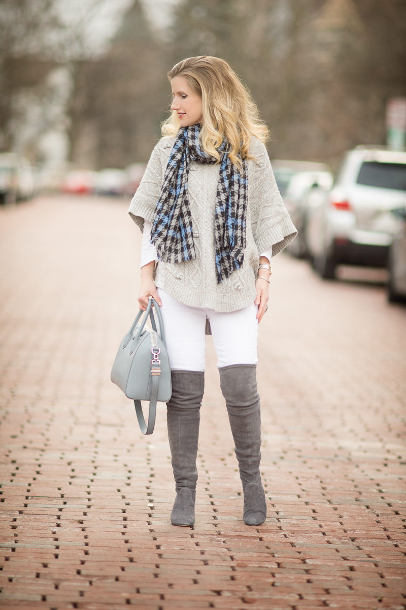 Petite Fashion and Style Blog | Talbots Aran-Stitched Cowlneck Poncho