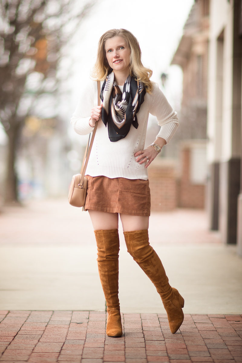 Petite Fashion and Style Blog   Banana Republic Scallop Hem Pullover   Goodnight Macaroon 'Marlo' Tan Over the Knee Boots   Click to Read More...