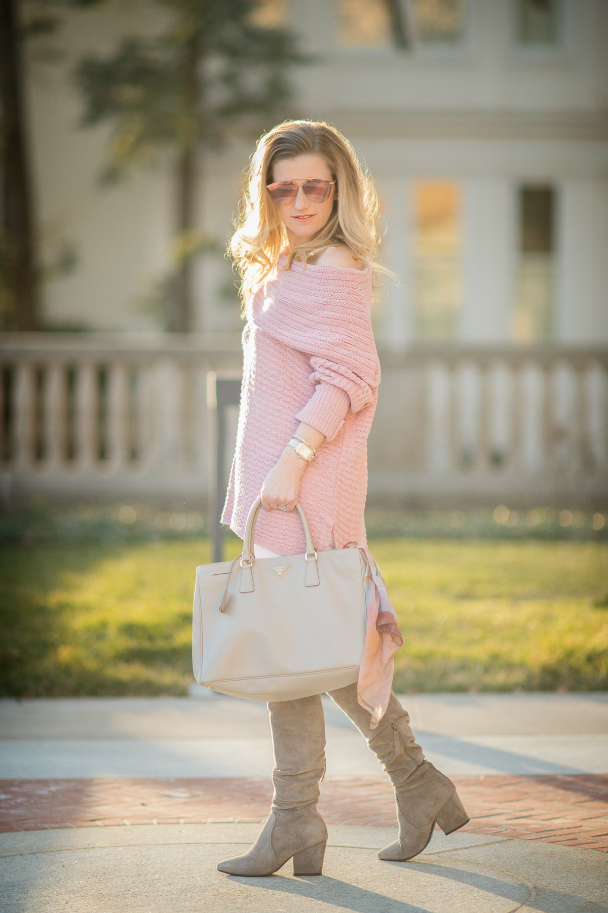 Petite Fashion and Style Blog | Goodnight Macaroon 'Sadie' Off the Shoulder Sweater | Dior Reflected Prism Mirrored Sunglasses | Click to Read More...