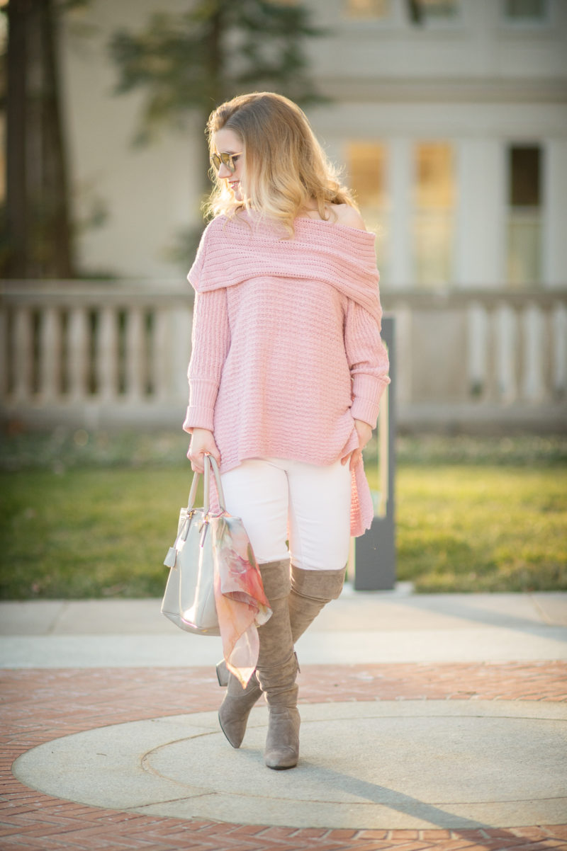 Petite Fashion and Style Blog   Goodnight Macaroon 'Sadie' Off the Shoulder Sweater   Dior Reflected Prism Mirrored Sunglasses   Click to Read More...