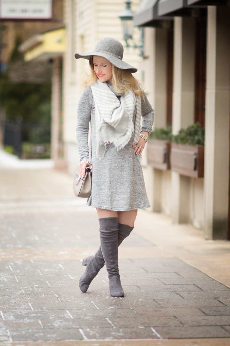 Petite Fashion and Style Blog | Shein Grey Marled Knit Cowl Neck A Line Dress