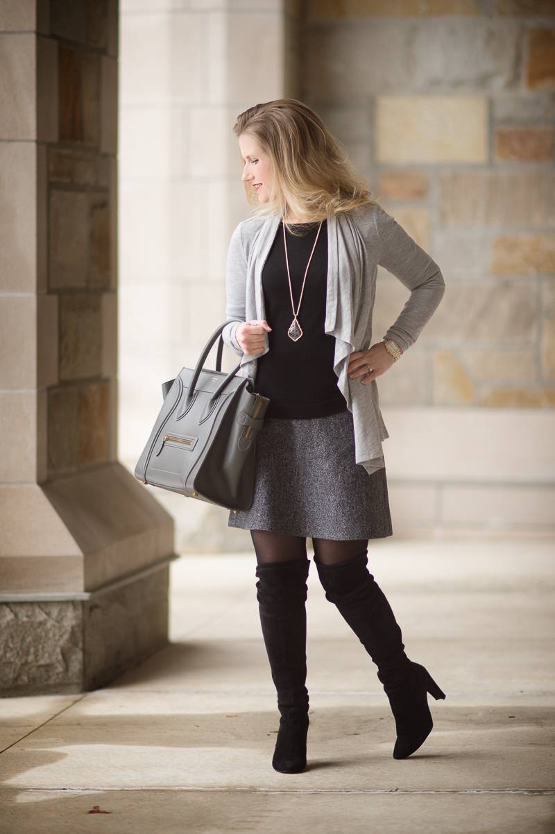 Petite Fashion and Style Blog | Ann Taylor Cascade Caradigan | Kendra Scott Aiden Necklace | Celine Luggage Tote | Click to Read More...