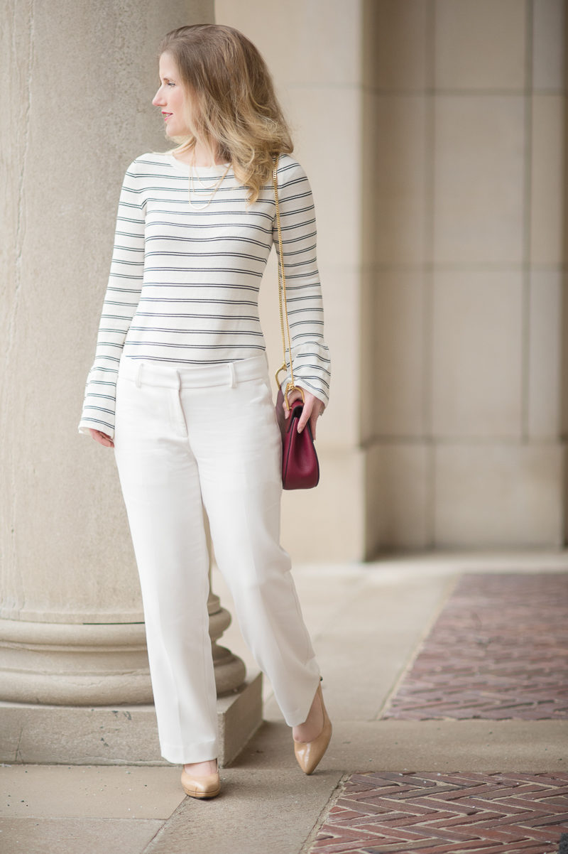 Petite Fashion and Style Blog   Ann Taylor Striped Bell Sleeve Sweater   Ann Taylor Kick Crop Pants   Chloe Drew Red   Click to Read More...