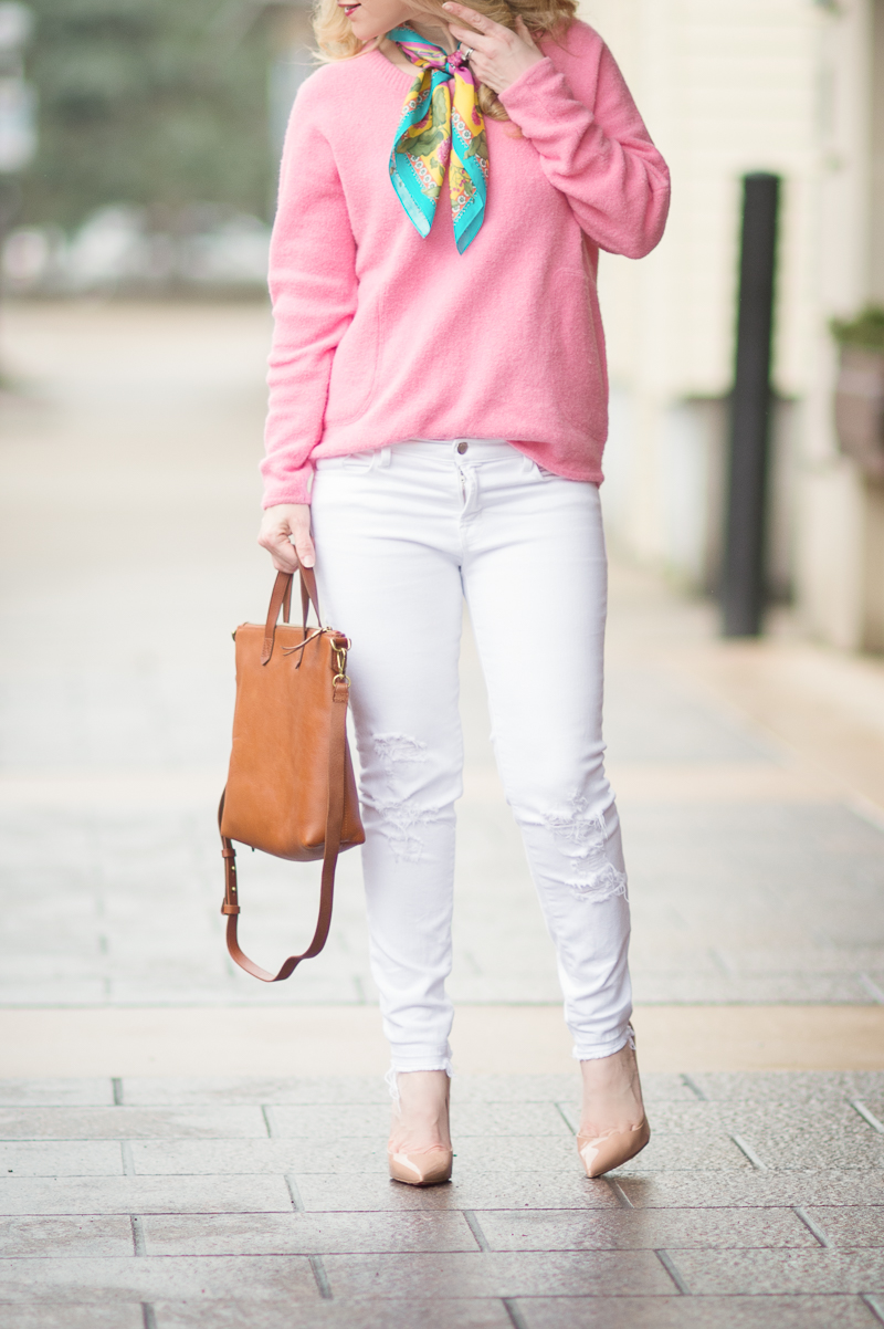 Petite Fashion and Style Blog |Anthropologie Pink Sweater | Madewell Tote | Christian Louboutin So Kate Heels | Click to Read More...