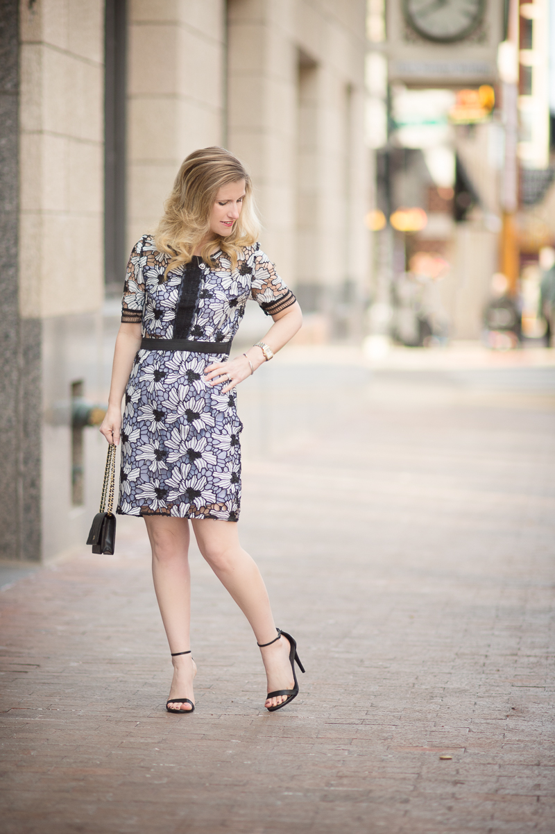 Petite Fashion and Style Blog | Bloomingdale's Aqua Contrast Lace Dress | Click to Read More...