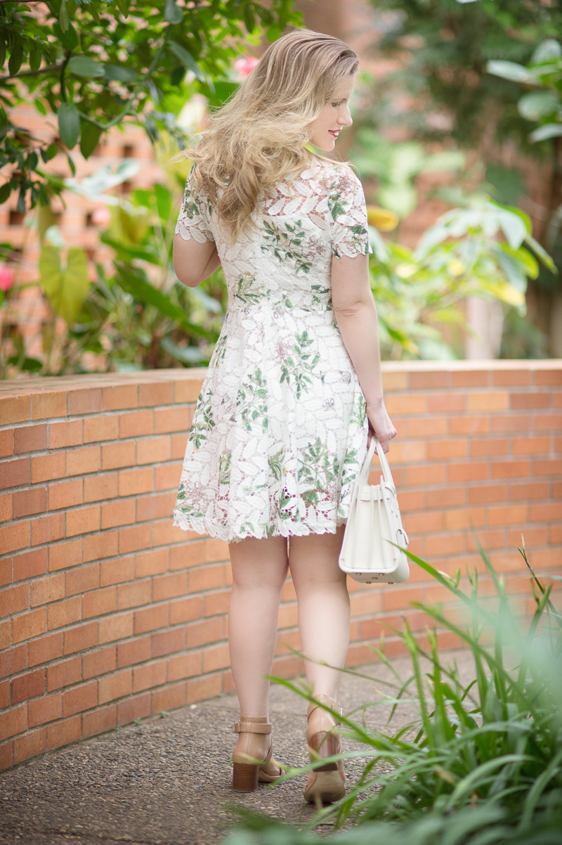 Petite Fashion and Style Blog | Chicwish Wildflower Fresh Crochet Flare Dress