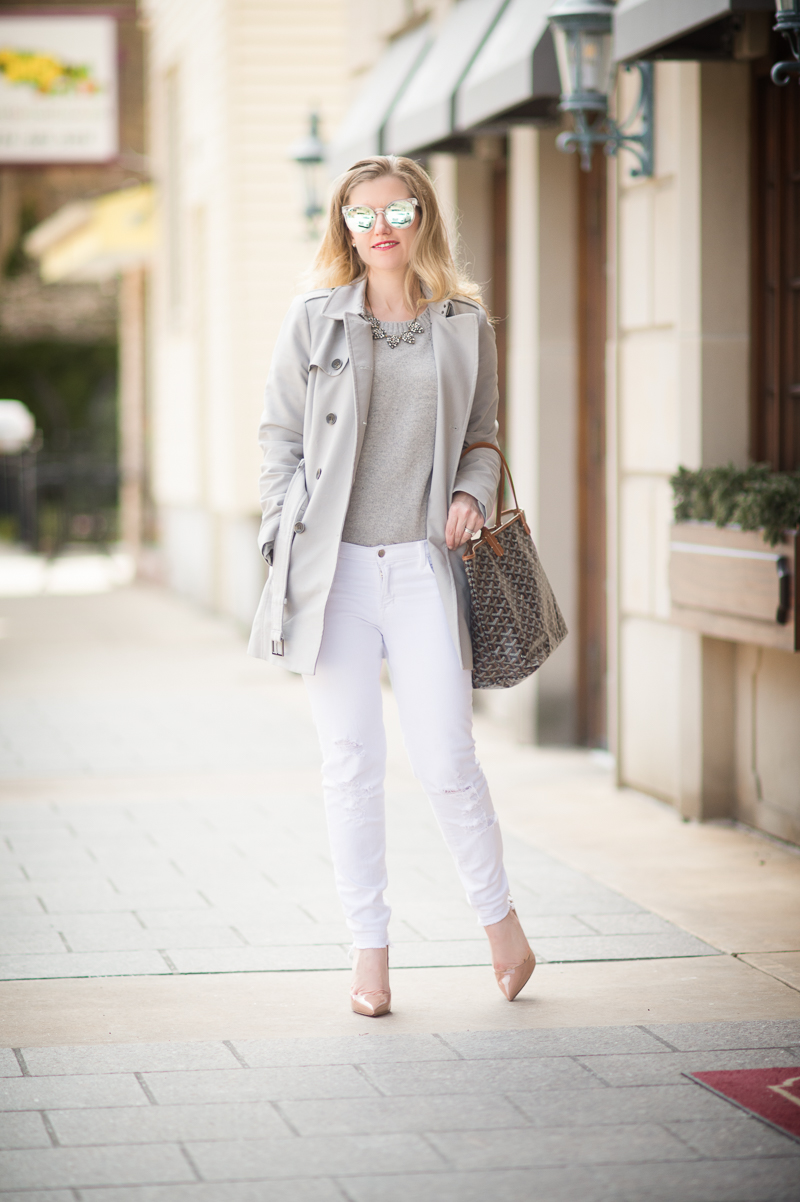 Petite Fashion and Style Blog | Grey Hollow Out Drop Shoulder Dip Hem Sweater | Christian Louboutin So Kate Pumps | Click to Read More...