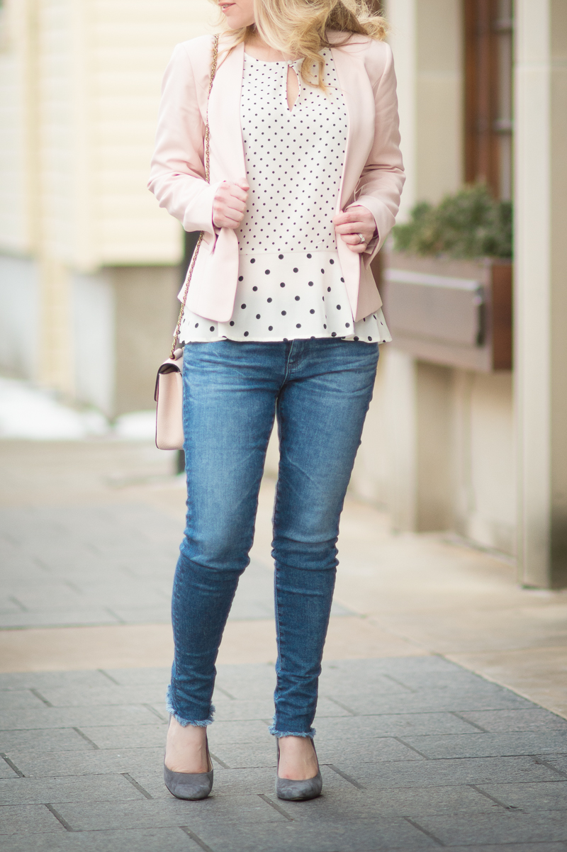 Petite Fashion and Style Blog | Halogen Open Front Jacket | Maison Jules Polka Dot Peplum Top | Click to Read More:...