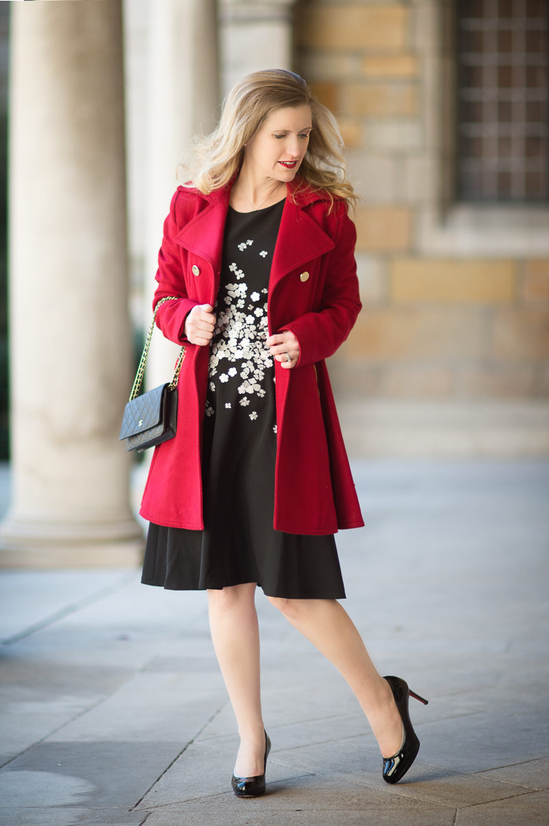 Petite Fashion and Style Blog | Maggy London Gracie Dress | Laundry by Shelli Segal-Double-Breasted Skirted Swing Coat | Click to Read More...