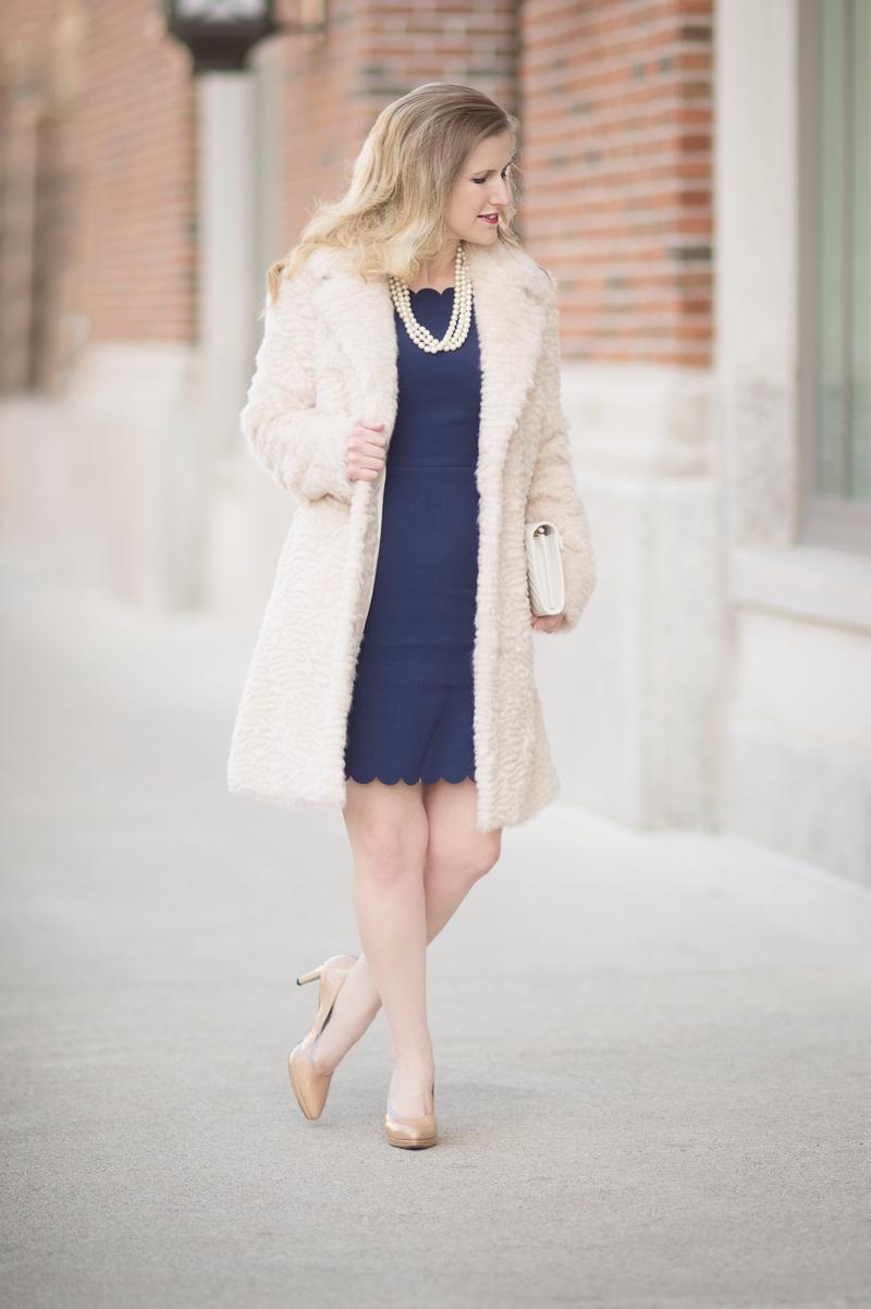 Petite Fashion and Style Blog | Maison Jules Scalloped Sheath Dress | Elisa J. Faux Persian Lamb Coat | Click to Read More...