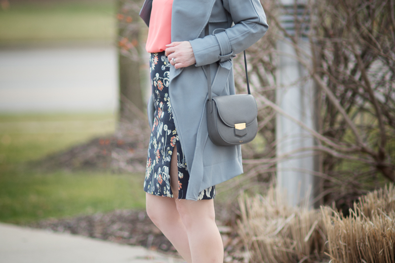 Petite Fashion and Style Blog | Ann Taylor Garden Jacquard Pencil Skirt | Chicwish Textured Belted Trench Coat in Grey | Céline--Small Trotteur Shoulder Bag | Click to Read More...