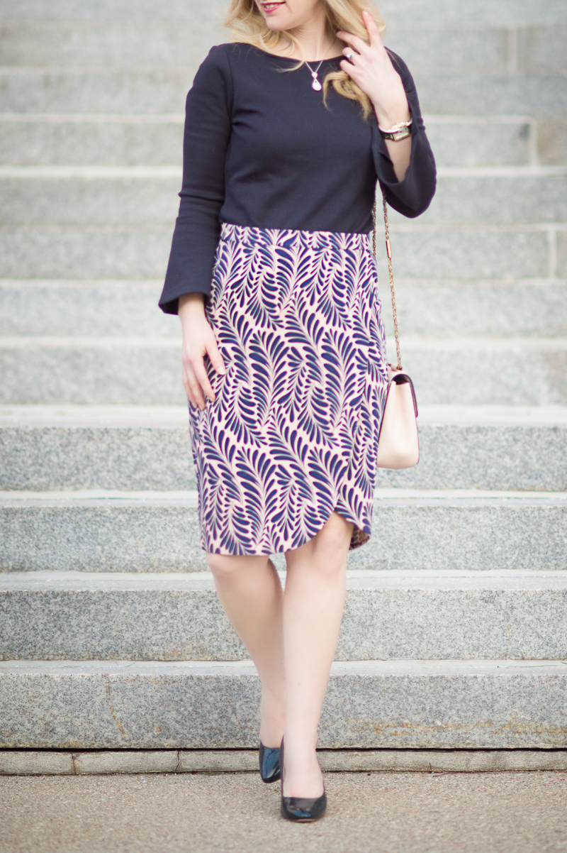 Petite Fashion and Style Blog | Ann Taylor Leaf Petal Pencil Skirt | Ann Taylor Bell Sleeve Sweater | Click to Read More...