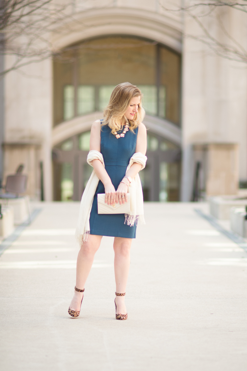 Petite Fashion and Style Blog | Ann Taylor Square Back Sheath Dress | YSL Wallet on Chain | Jimmy Choo Helena Pumps | Click to Read More...