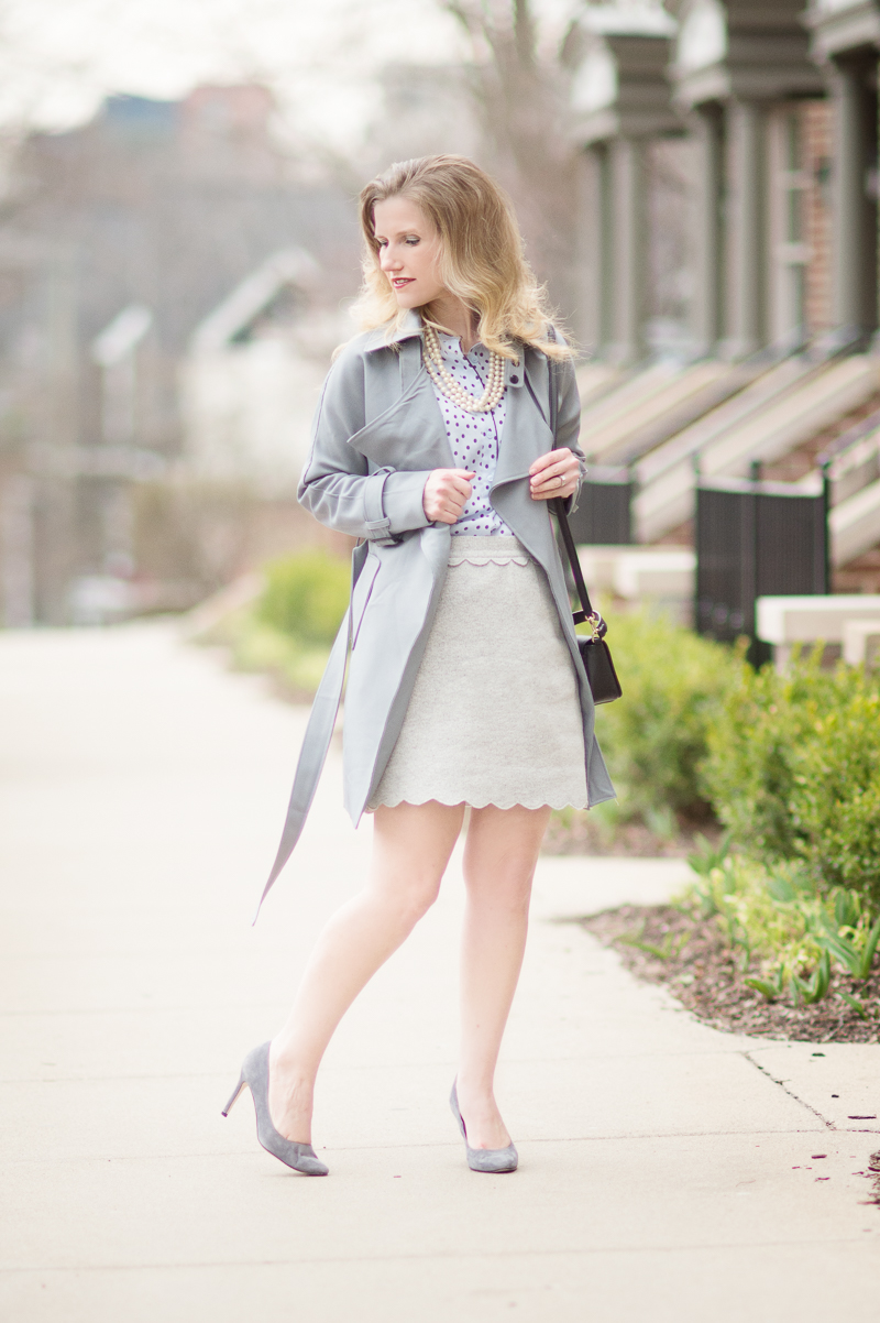 Petite Fashion and Style Blog | Club Monaco Meelo Skirt | Chicwish Textured Belted Trench Coat in Grey | Click to Read More...
