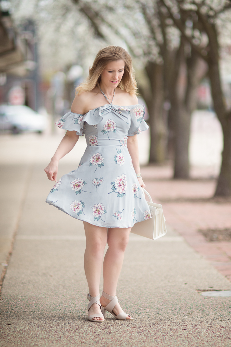 Petite Fashion and Style Blog | J.O.A. Off Shoulder Mini Dress in Grey Multi | Click to Read More...