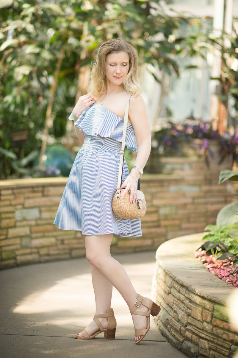Petite Fashion and Style Blog   J.O.A. One Shoulder Stripe Mini Dress   Sea and Grass Ava Crossbody   Click to Read More...