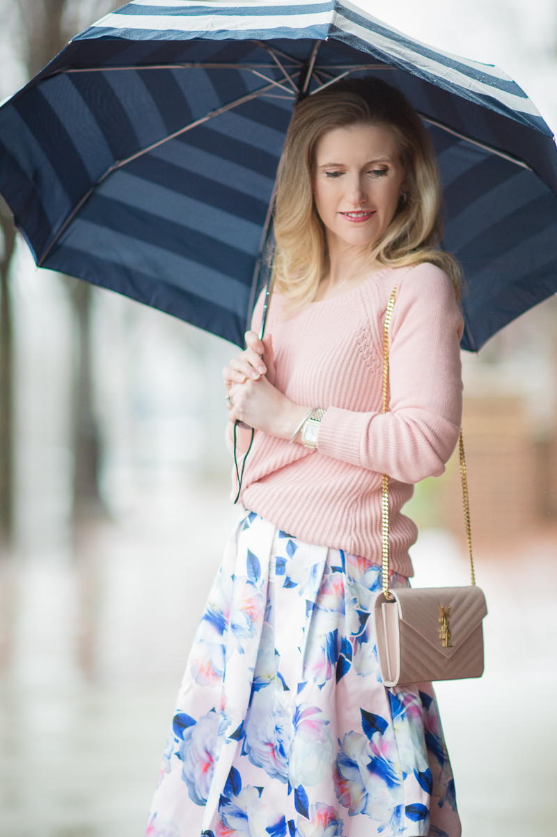 Petite Fashion and Style Blog | Loft Ribbed Pointelle Sweater | Chi ChiLondon Justice Skirt | Kate Spade Jubilee Stripe Umbrella | YSL Wallet on Chain | Click to Read More...