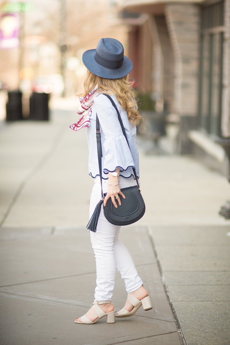 Petite Fashion and Style Blog | Shein Blue Contrast Binding Bell Cuff Wave Trim Blouse | Banana Republic Navy Straw Hat | Gigi New York Jenni Saddle Bag | Click to Read More...