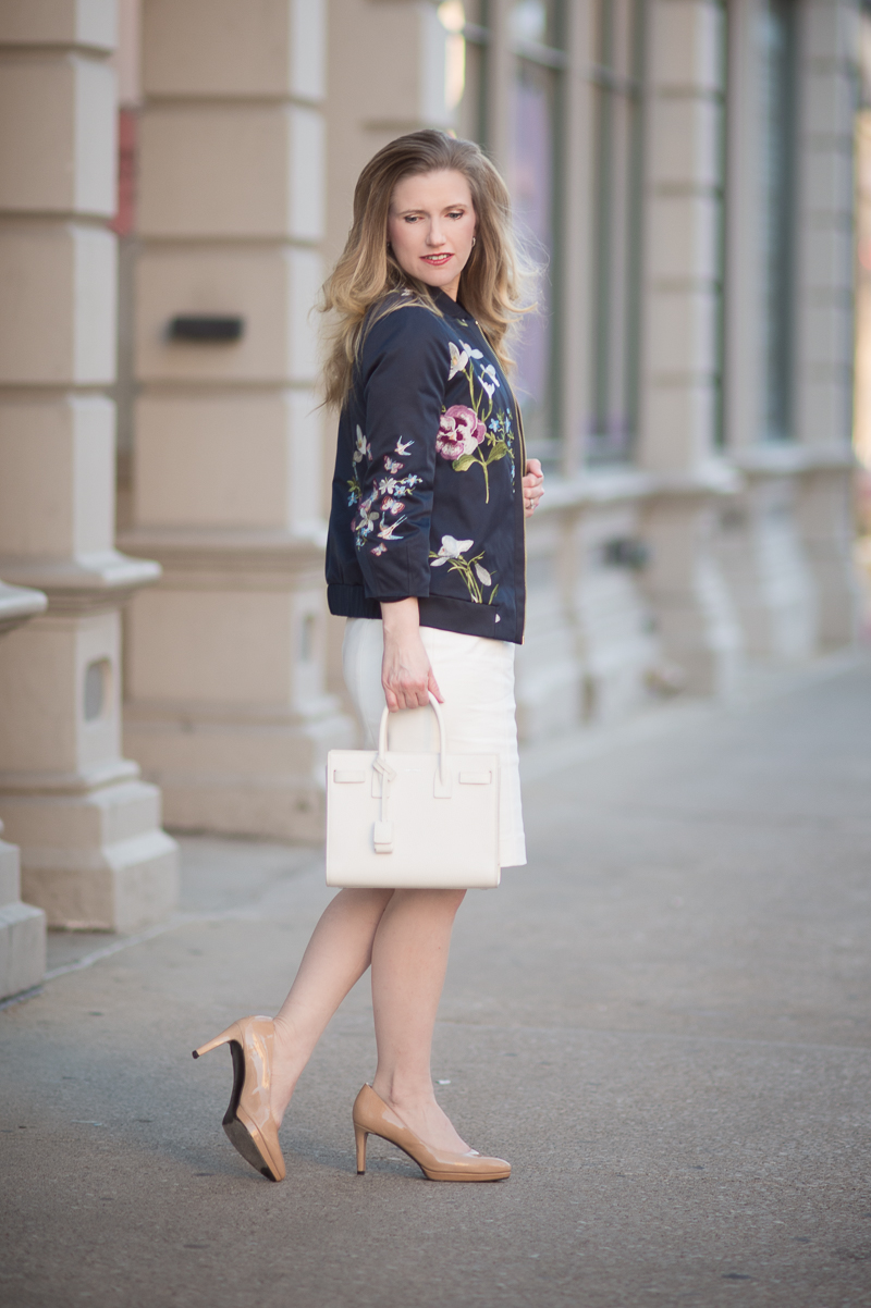 Petite Fashion and Style Blog | Ted Baker Entangled Enchantment Embroidered Bomber Jacket | French Connection Lolo Stretch Sheath Dress | YSL Baby Sac du Jour | Click to Read More...