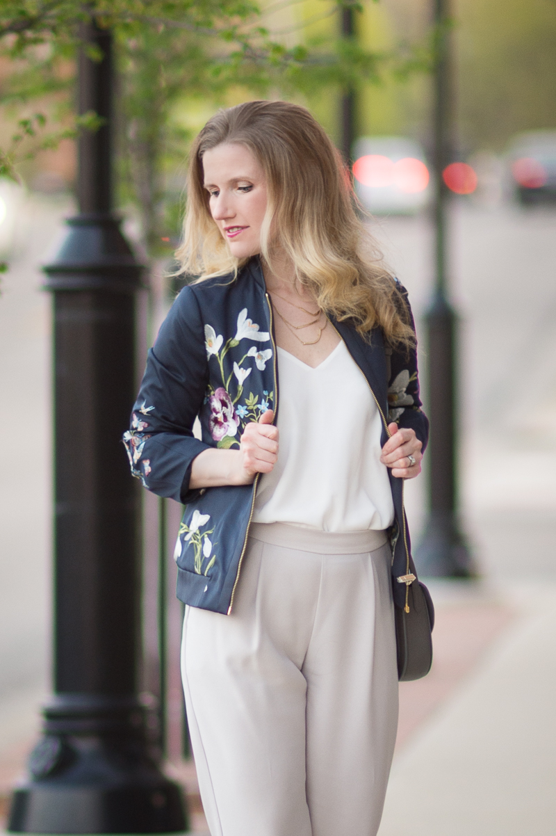 Petite Fashion and Style Blog | Ted Baker Entangled Enchantment Embroidered Bomber Jacket| Wallis Tapered Crepe Trousers | Click to Read More...