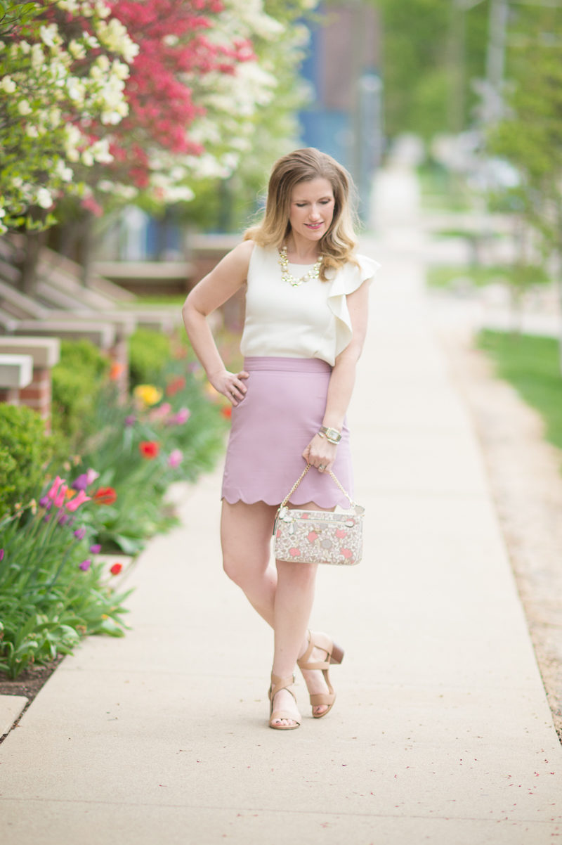 Petite Fashion and Style Blog   ASOS A-Line Mini Skirt with Scallop Hem   Ann Taylor Flounce Shoulder Shell   Coach Lolita Wristlet   Click to Read More...