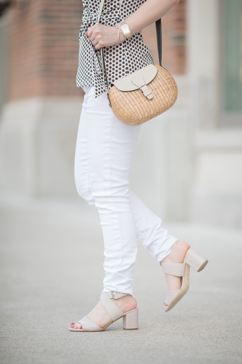 Petite Fashion and Style Blog | Ann Taylor Dot Bow Front Top | Hudson Mid Rise Ankle Skinny Jeans | Sea and Grass Ava Crossbody Tote | Click to Read More...